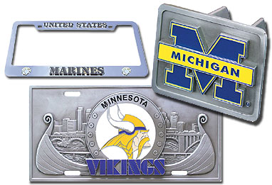 License Plate, License Plate Frame, and Hitch Cover