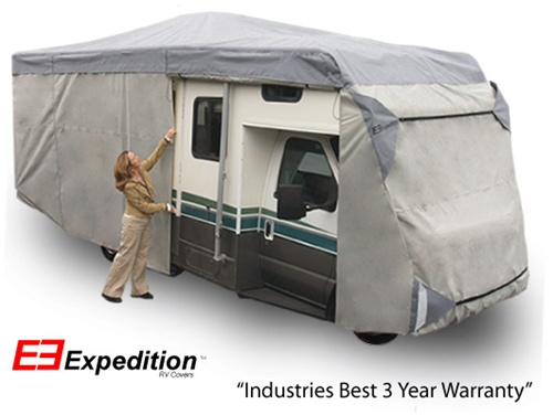 Expedition Class C RV Cover 35-38 foot length<br> 462 L x 108 H x 105 W (inches) Image