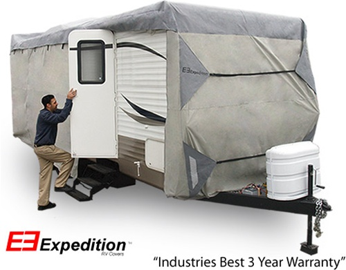 Expedition Travel Trailer RV Cover 33-35 foot length<br> 426 L x 104 H x 102 W (inches) Image