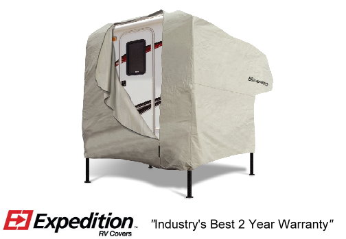 "Expedition_ Truck Camper RV Cover 8-10 foot length (216.5""L x 108""W x 96""H) Image"